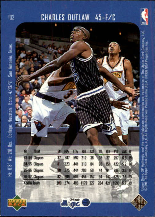 1997-98 SP Authentic #102 Bo Outlaw back image