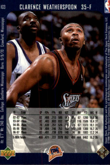 1997-98 SP Authentic #103 Clarence Weatherspoon back image