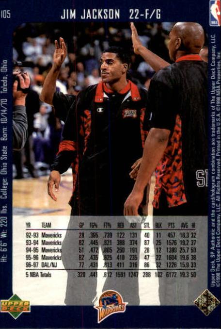 1997-98 SP Authentic #105 Jim Jackson back image