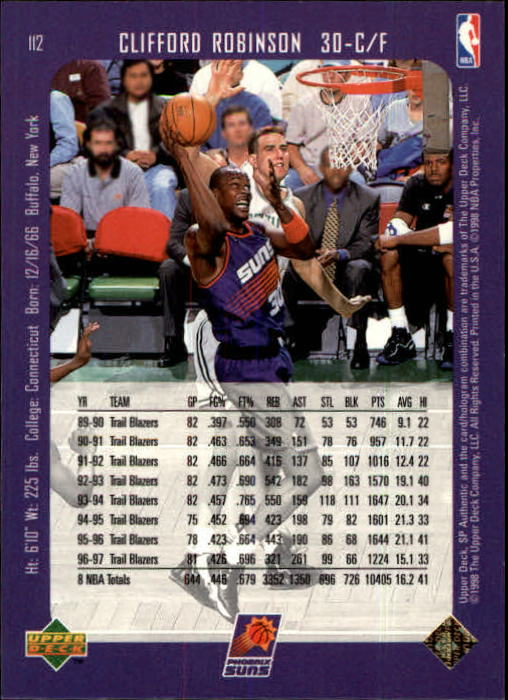 1997-98 SP Authentic #112 Clifford Robinson back image