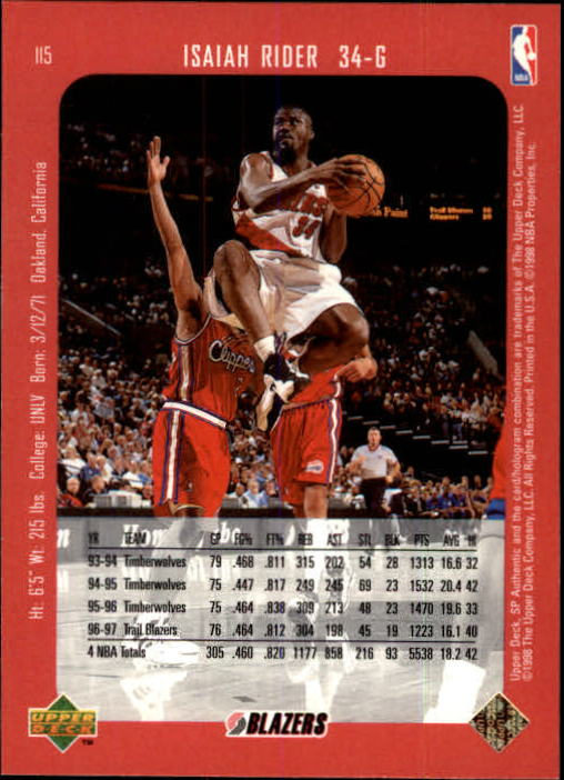 1997-98 SP Authentic #115 Isaiah Rider back image