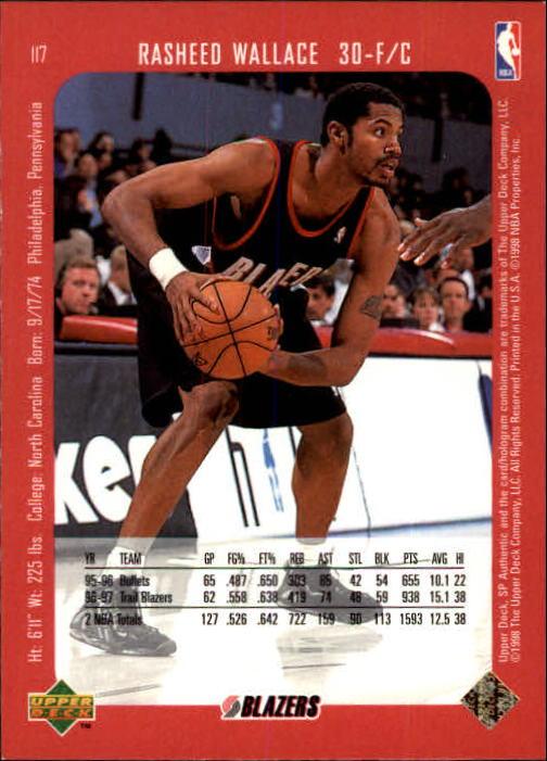 1997-98 SP Authentic #117 Rasheed Wallace back image