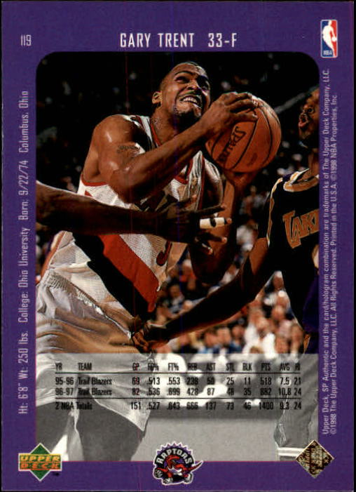 1997-98 SP Authentic #119 Gary Trent back image