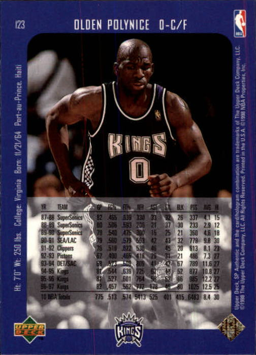 1997-98 SP Authentic #123 Olden Polynice back image