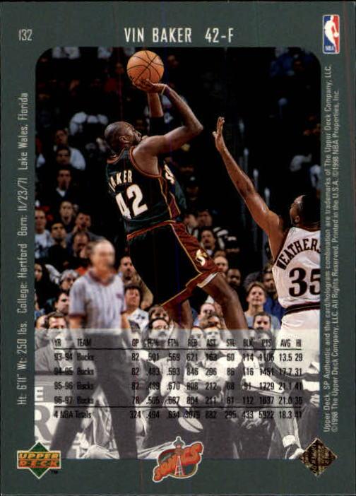 1997-98 SP Authentic #132 Vin Baker back image