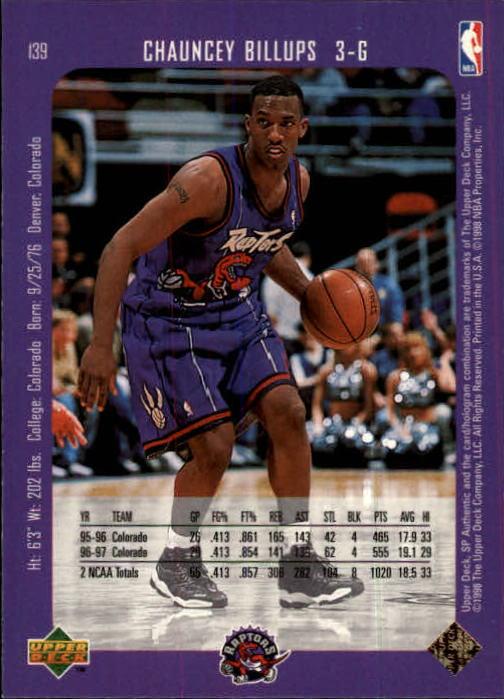 1997-98 SP Authentic #139 Chauncey Billups RC back image