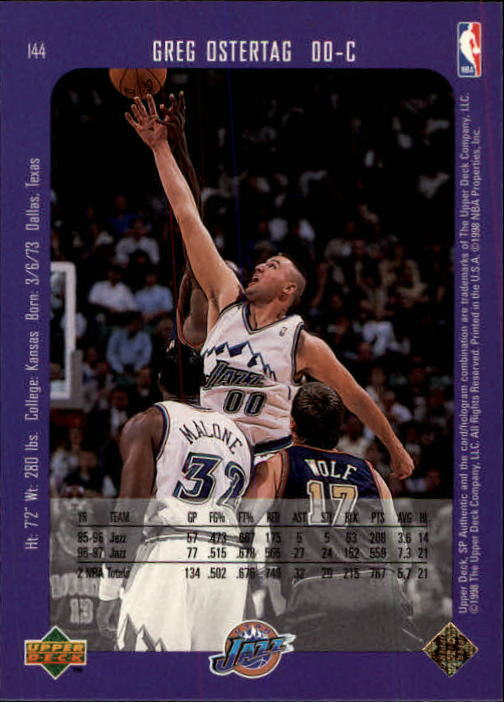 1997-98 SP Authentic #144 Greg Ostertag back image