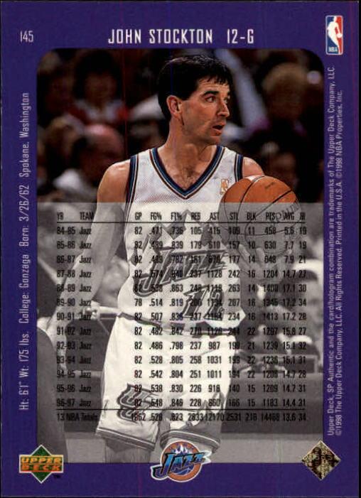 1997-98 SP Authentic #145 John Stockton back image