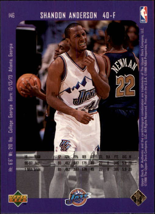 1997-98 SP Authentic #146 Shandon Anderson back image