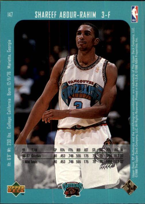1997-98 SP Authentic #147 Shareef Abdur-Rahim back image