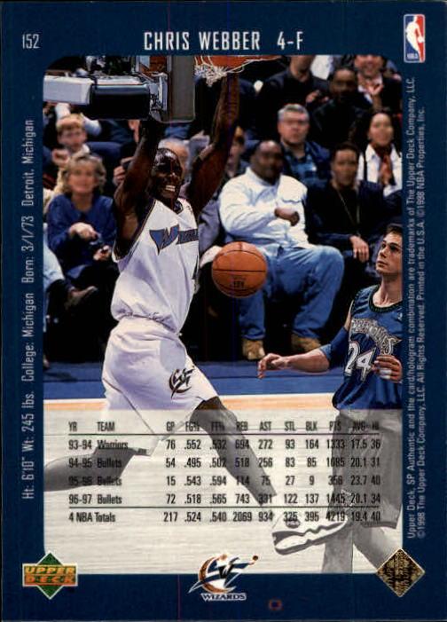 1997-98 SP Authentic #152 Chris Webber back image