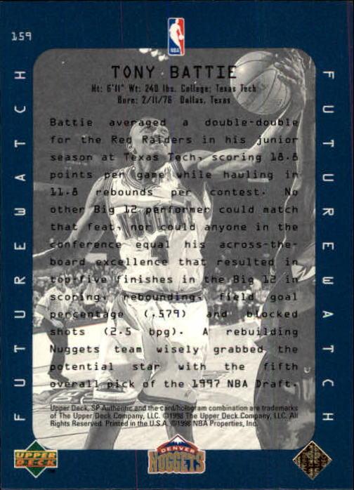 1997-98 SP Authentic #159 Tony Battie FW back image