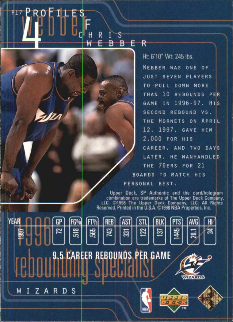 1997-98 SP Authentic Profiles 1 #P17 Chris Webber back image