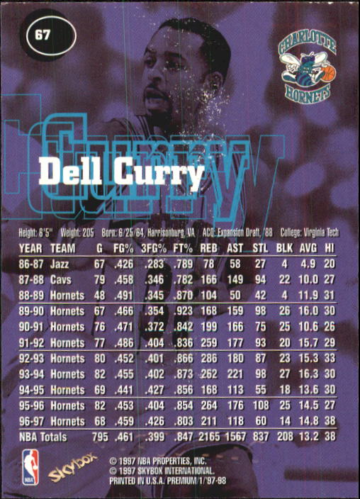1997-98 SkyBox Premium #67 Dell Curry back image