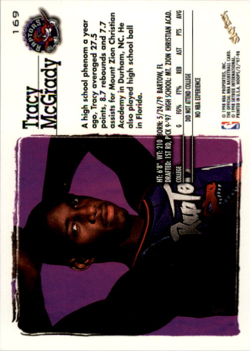 1997-98 Hoops #169 Tracy McGrady RC back image