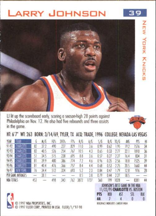 1997-98 Fleer #39 Larry Johnson back image
