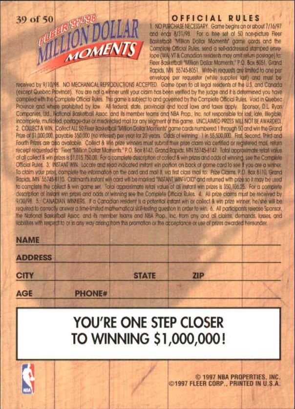 1997-98 Fleer Million Dollar Moments #39 Larry Johnson back image
