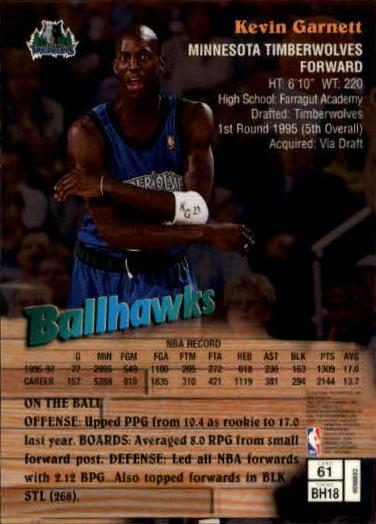 1997-98 Finest #61 Kevin Garnett B back image