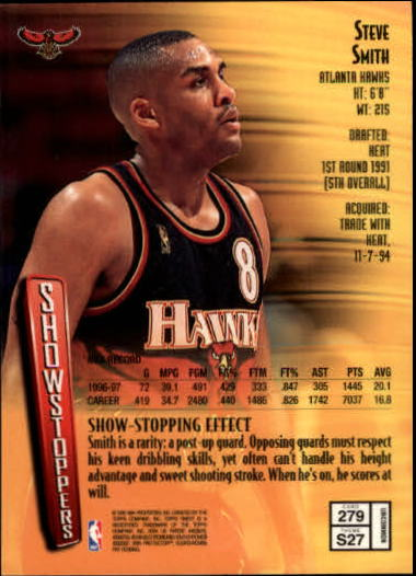 1997-98 Finest #279 Steve Smith S back image