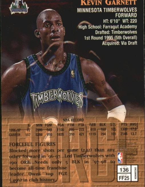 1997-98 Finest Embossed #136 Kevin Garnett S back image