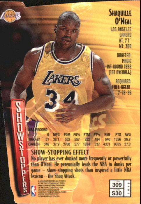 1997-98 Finest Embossed #309 Shaquille O'Neal G back image