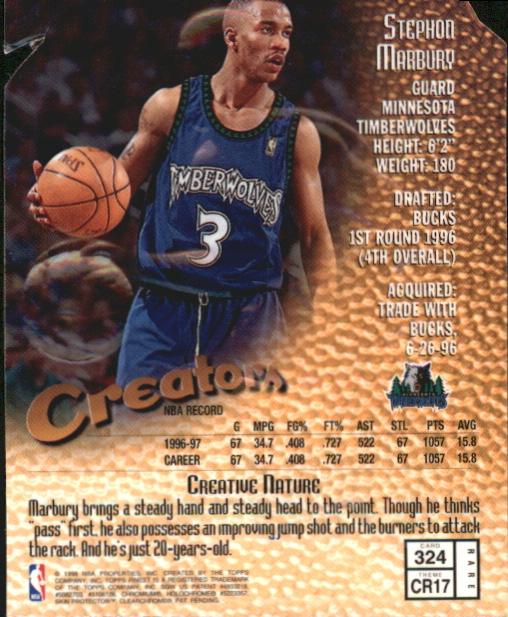 1997-98 Finest Embossed #324 Stephon Marbury G back image