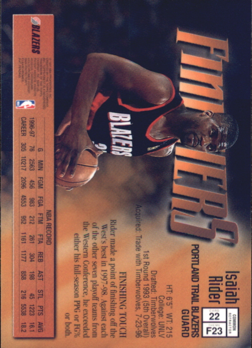 1997-98 Finest Refractors #22 Isaiah Rider B back image