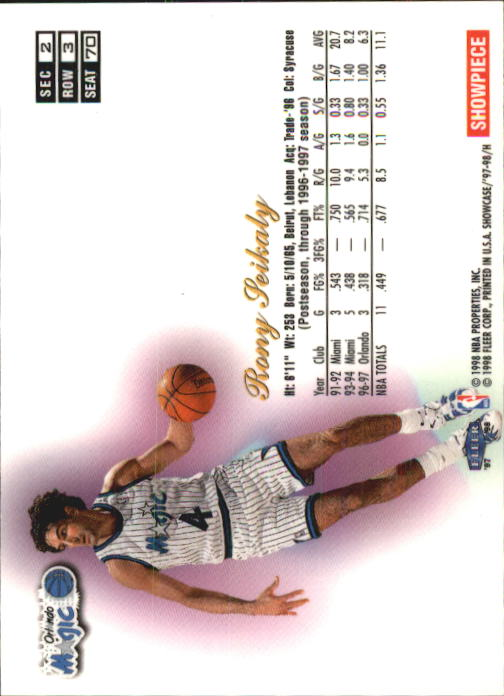 1997-98 Flair Showcase Row 3 #70 Rony Seikaly back image