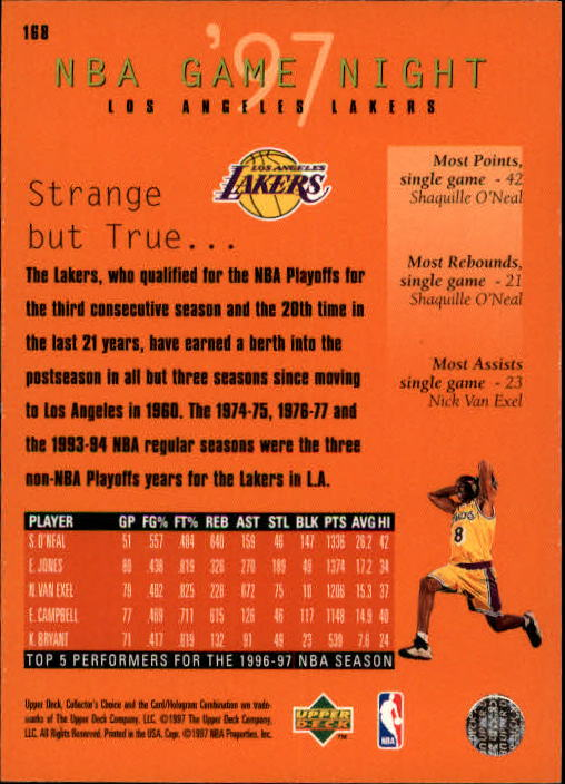 1997-98 Collector's Choice #168 Eddie Jones/Shaquille O'Neal/Kobe Bryant/Nick Van Exel back image