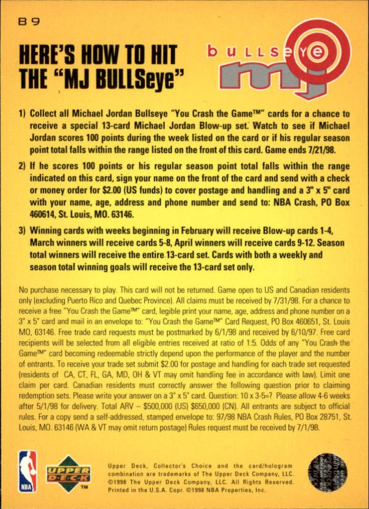 1997-98 Collector's Choice MJ Bullseye #B9 Michael Jordan 2/23/2,250 W back image