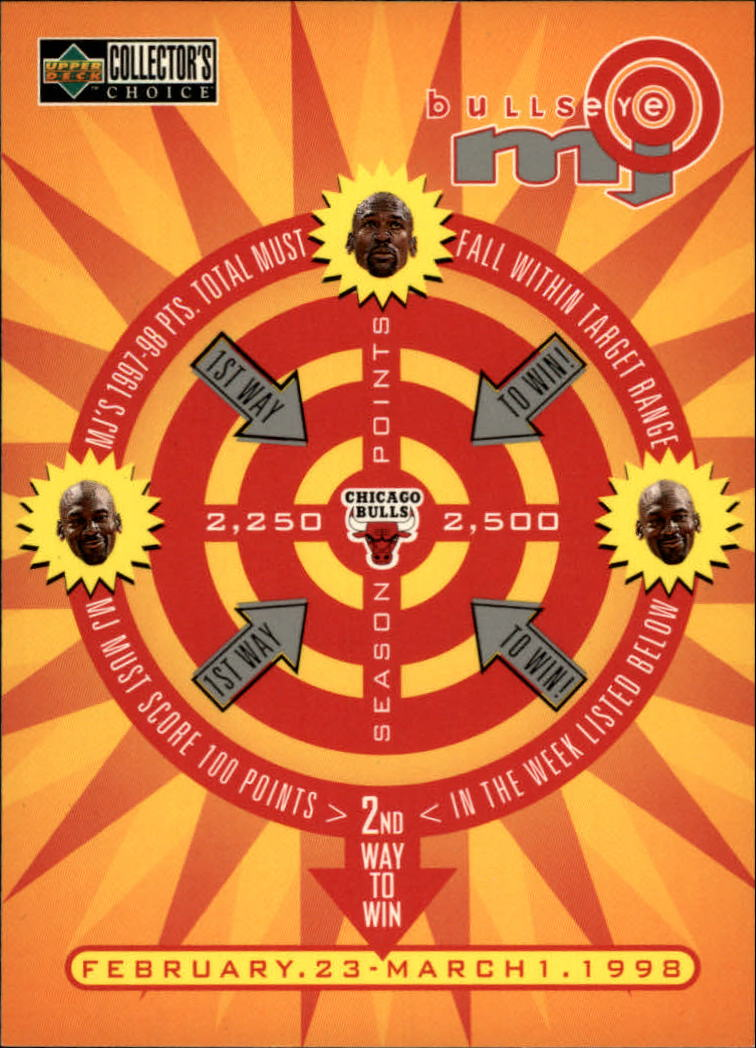 1997-98 Collector's Choice MJ Bullseye #B9 Michael Jordan 2/23/2,250 W