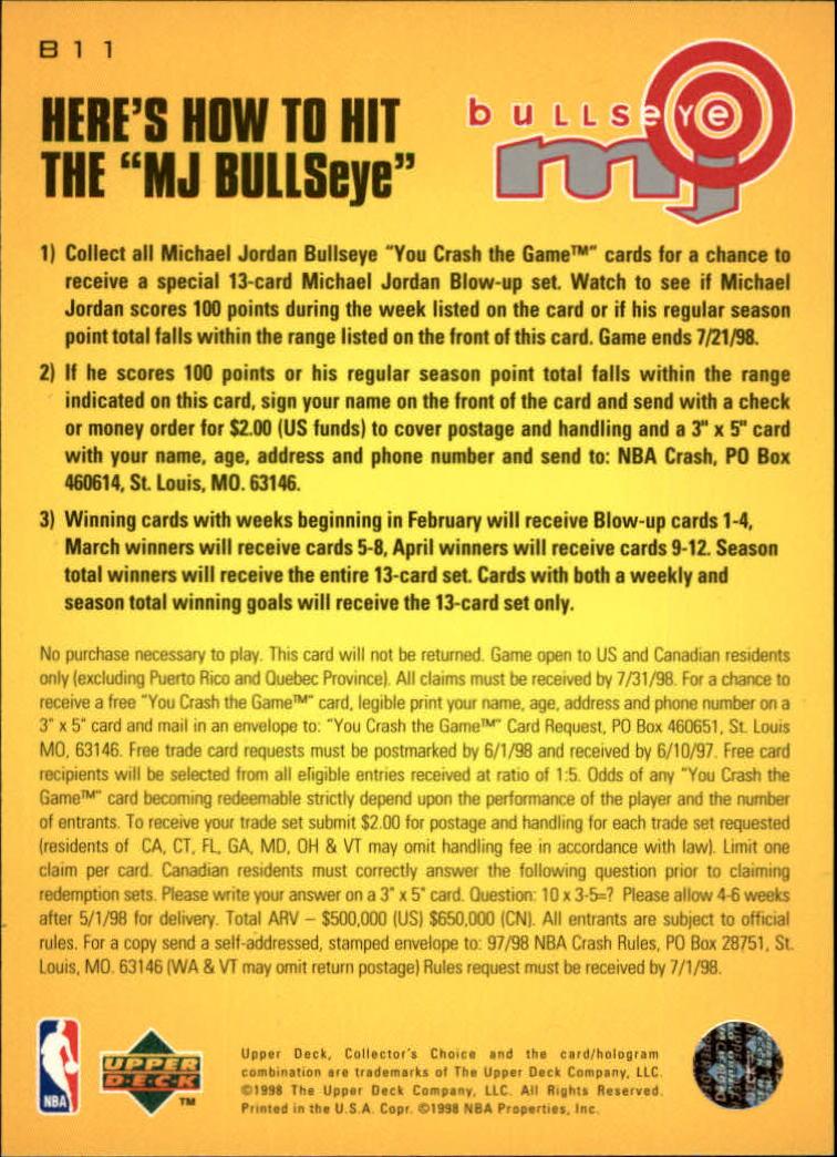 1997-98 Collector's Choice MJ Bullseye #B11 Michael Jordan 3/9/1,750 L back image