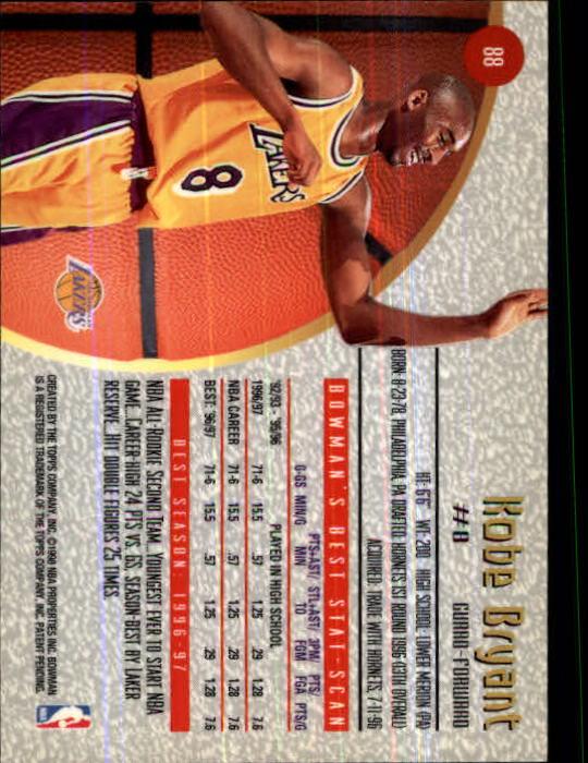 1997-98 Bowman's Best #88 Kobe Bryant back image