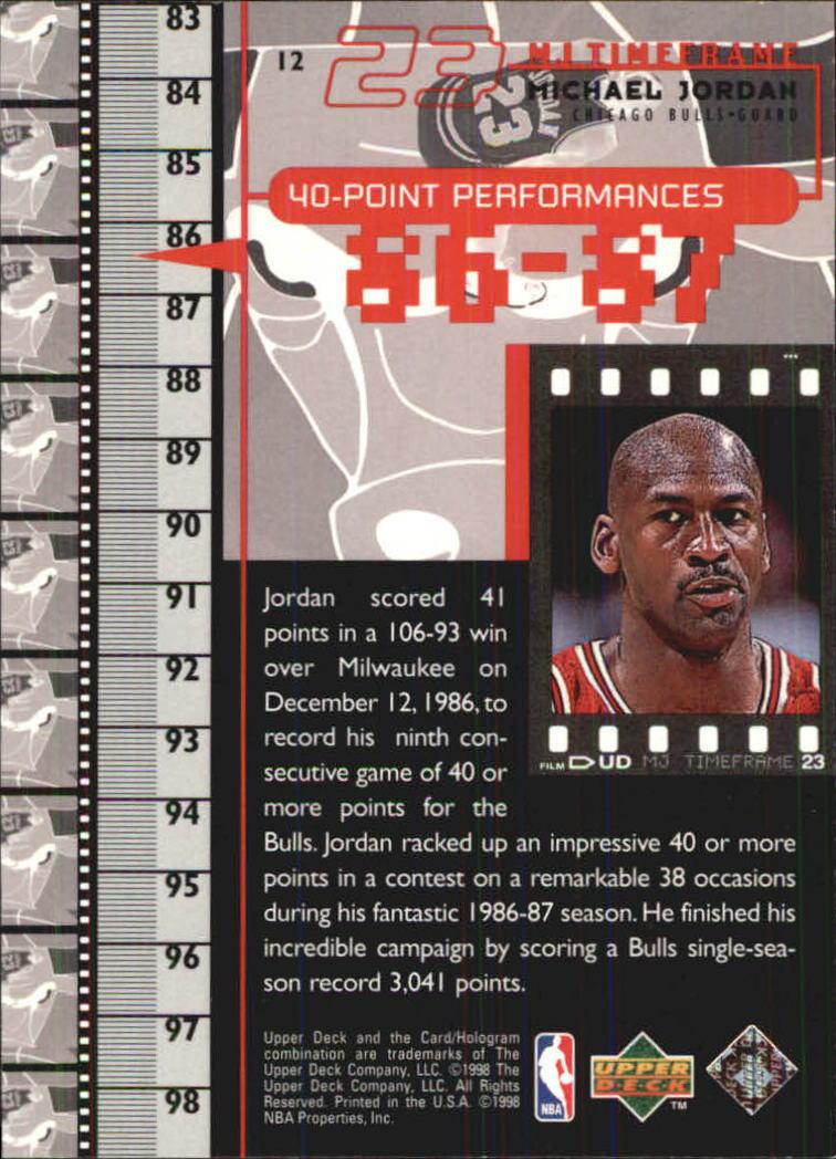 d11b55575086e9 ... 1998 Upper Deck Michael Jordan Living Legend  12 Michael Jordan TF  1987-88 back