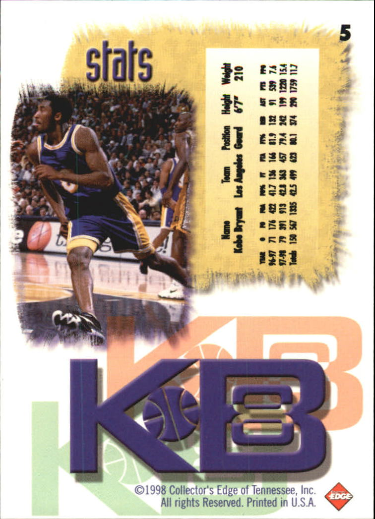 1998 Collector's Edge Impulse KB8 #5 Kobe Bryant back image