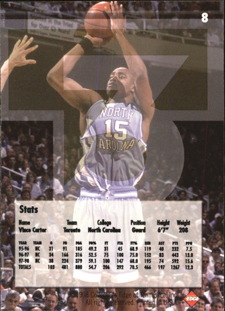 1998 Collector's Edge Impulse T3 #8 Vince Carter S back image