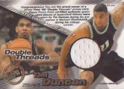 1998 Press Pass Double Threat Double Thread Jerseys #DT2 Michael Olowokandi/Tim Duncan back image