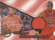 1998 Press Pass Double Threat Double Thread Jerseys #DT2 Michael Olowokandi/Tim Duncan