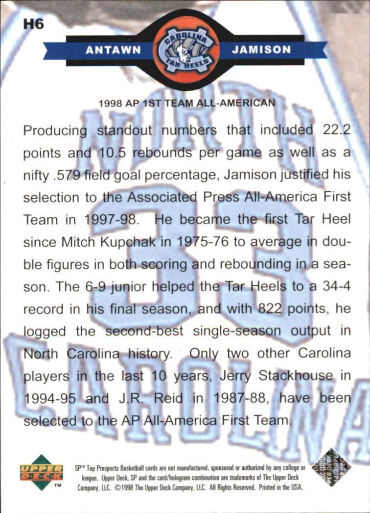 1998 SP Top Prospects Carolina Heroes #H6 Antawn Jamison back image