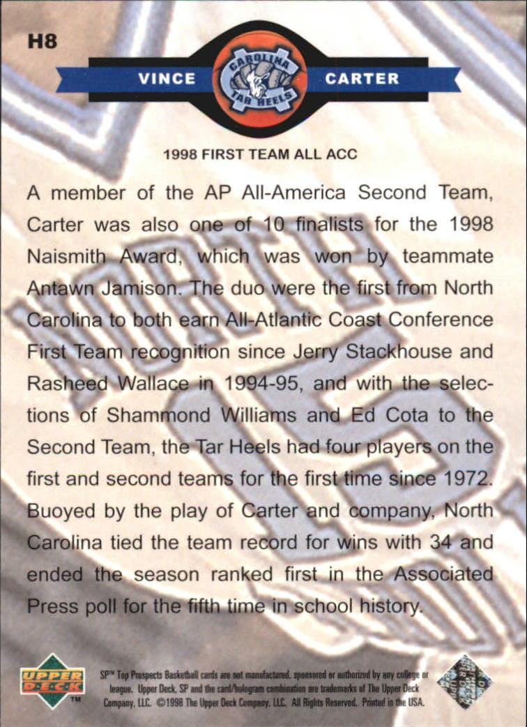 1998 SP Top Prospects Carolina Heroes #H8 Vince Carter back image