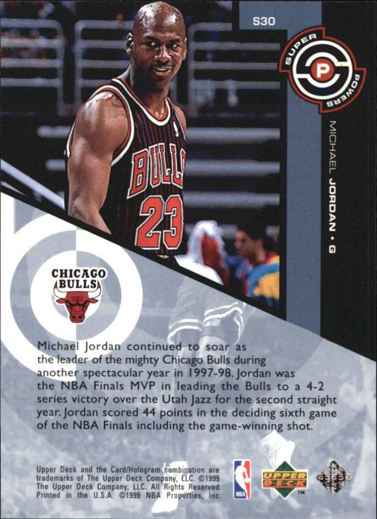 1998-99 Upper Deck Super Powers #S30 Michael Jordan back image