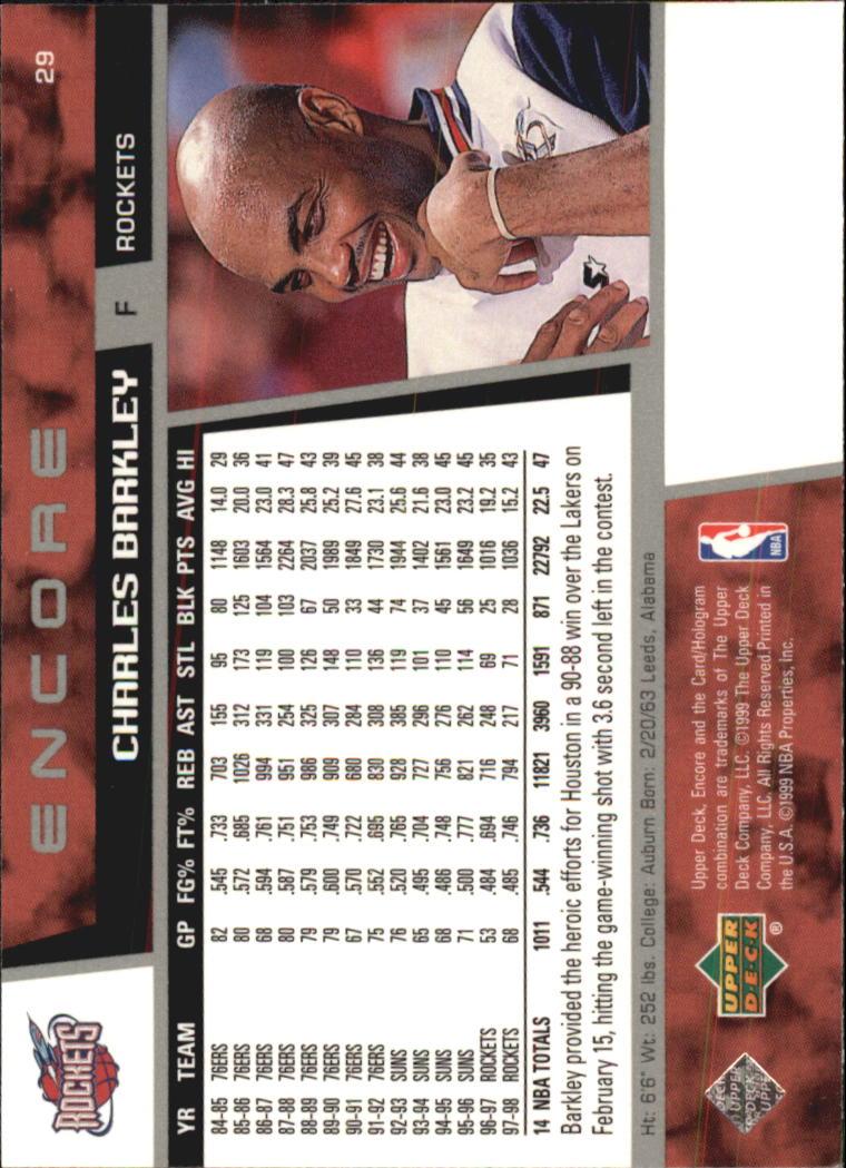 1998-99 Upper Deck Encore #29 Charles Barkley back image