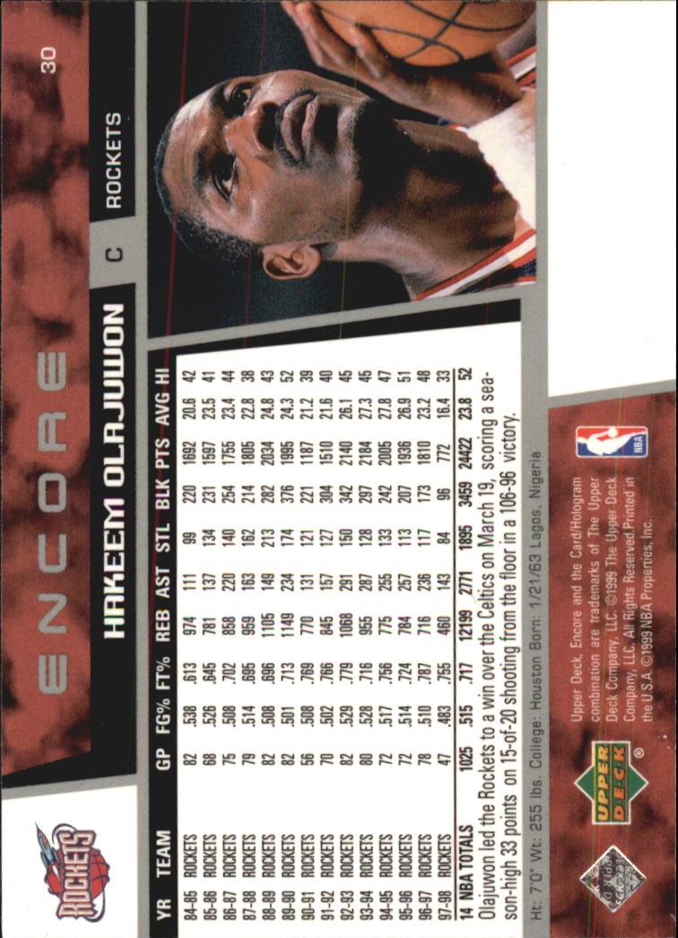 1998-99 Upper Deck Encore #30 Hakeem Olajuwon back image