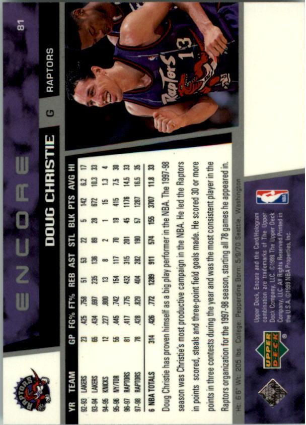 1998-99 Upper Deck Encore #81 Doug Christie back image