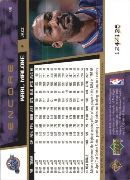 1998-99 Upper Deck Encore #82 Karl Malone back image