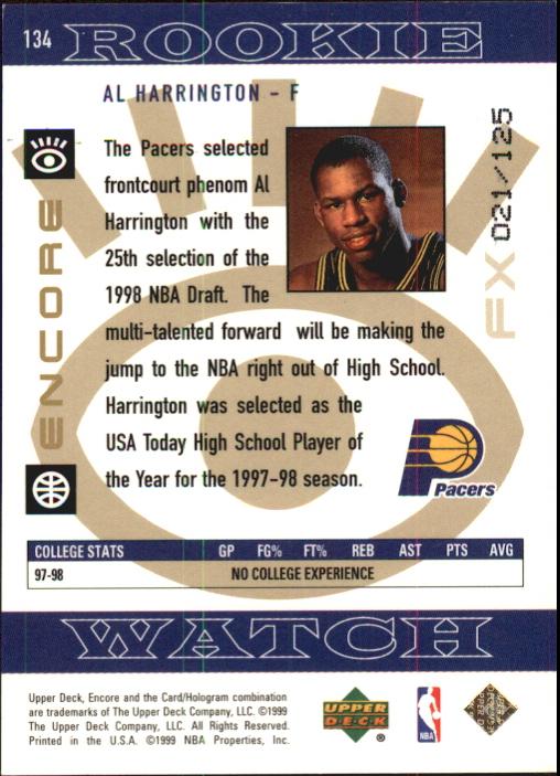 1998-99 Upper Deck Encore F/X #134 Al Harrington back image