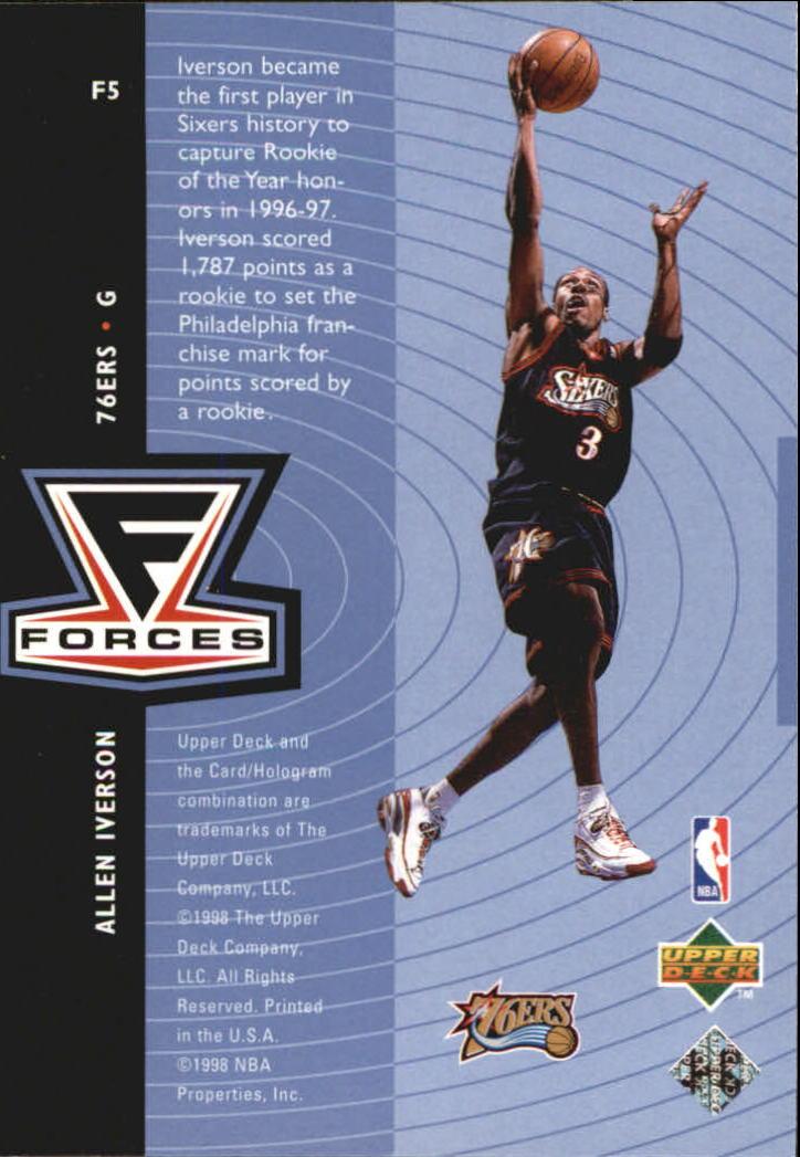 1998-99 Upper Deck Forces #F5 Allen Iverson back image