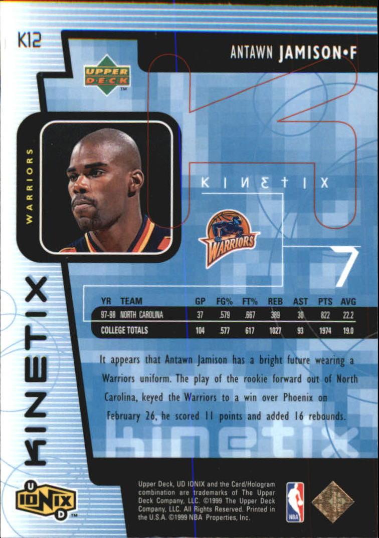 1998-99 UD Ionix Kinetix #K12 Antawn Jamison back image