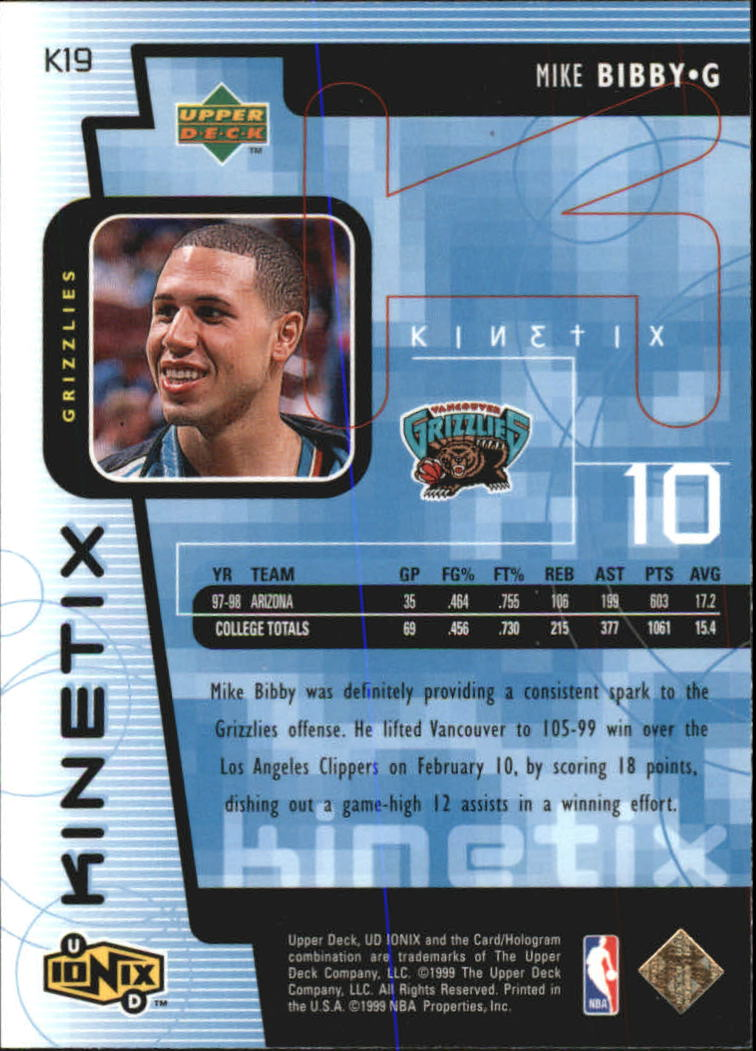 1998-99 UD Ionix Kinetix #K19 Mike Bibby back image