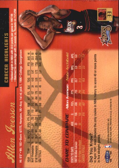 1998-99 Ultra #33 Allen Iverson back image